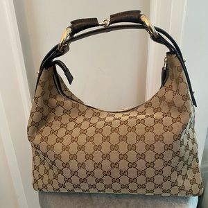 GUCCI canvas horsebit hobo bag